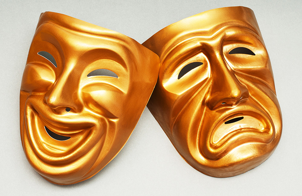 Comedy and drama acting masks