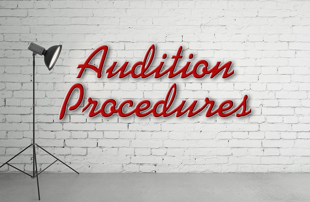The words audition procedures under a movie light