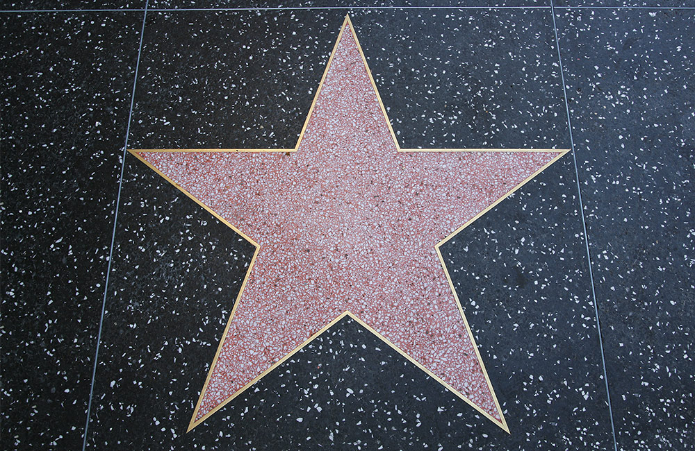 A star on the walk of fame sidewalk in Hollywood