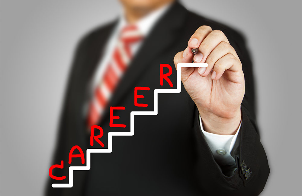 Man drawing a career ladder illustration