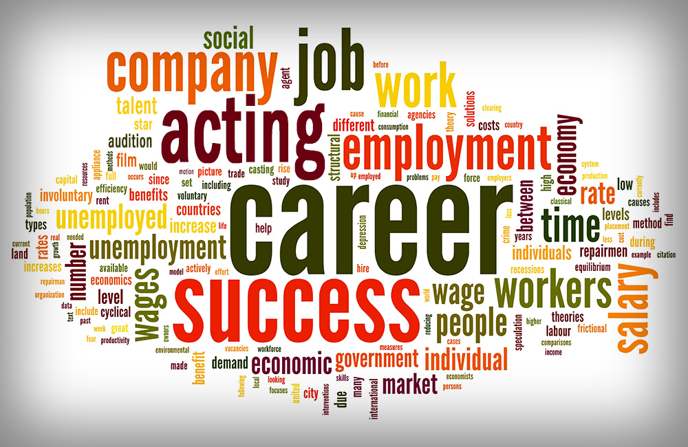 A word jumble with career and employment related words